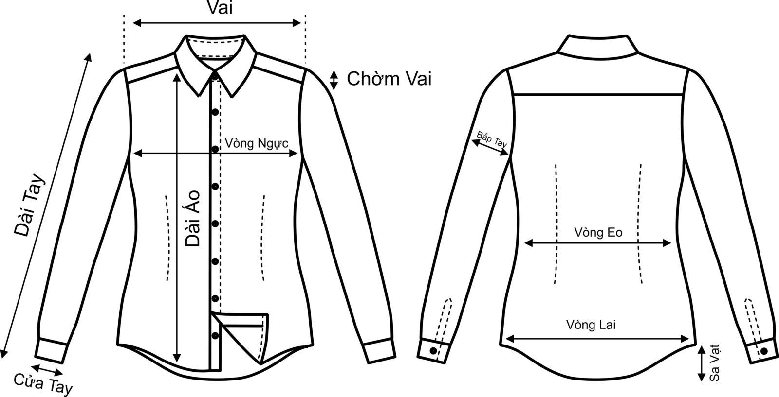 Cách đo áo sơ mi nữ chuẩn
